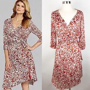 Antonio Melani | Orange & Cream Floral Wrap Dress
